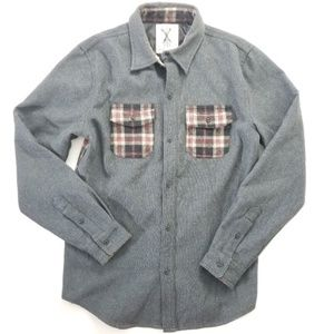 Urban outfitters plaid gray button down shirt wool